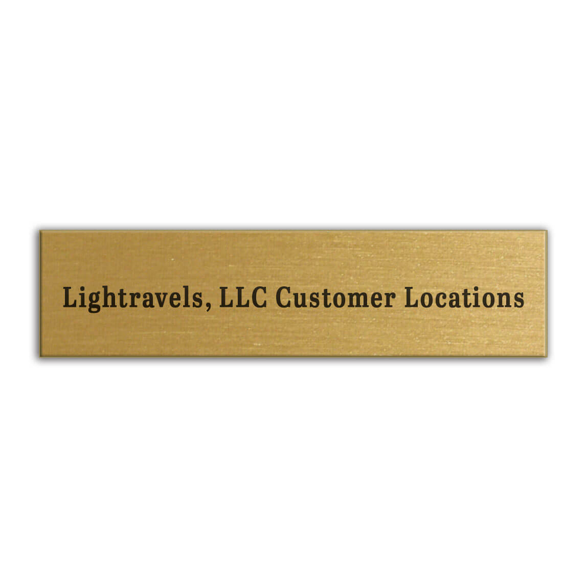 """Item PPG-4: 4"""" x 1"""" Gold-tone plaque with black imprint.  This is a great way to personalize your map!"""