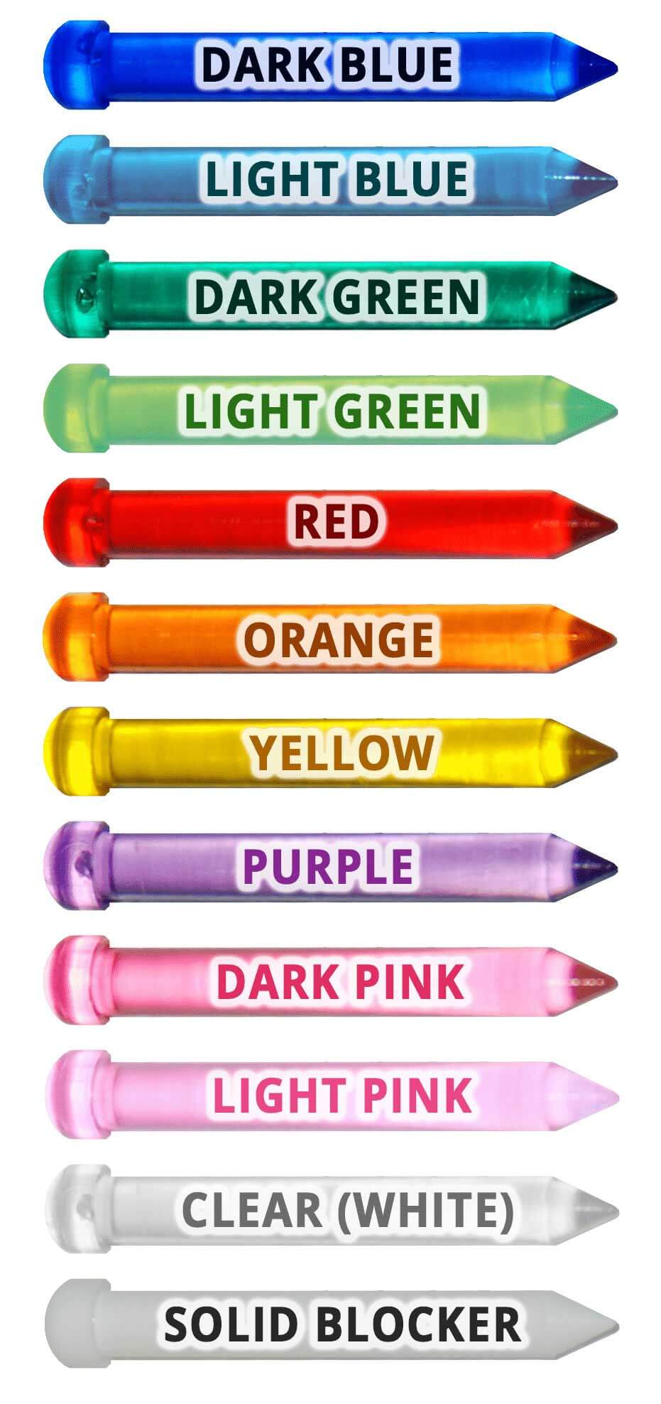 Color guide of the various colors of light pegs.