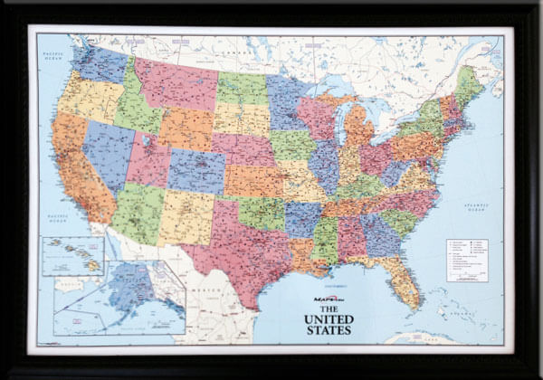 "Smaller sized custom US map that is great for the RV traveler!  Shown without pegs inserted. This is how your map will look upon receipt.  (RV size USA Wall Map Outer frame dimensions: 29½""w x 21""h x 3""d)"