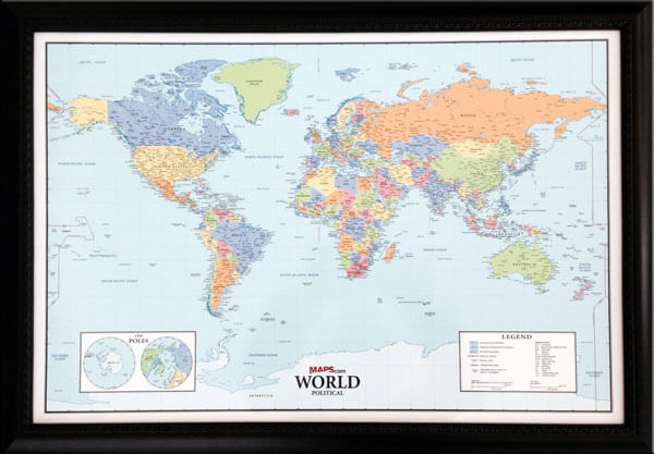 "Smaller sized custom world map that is great for the RV traveler!  Shown without pegs inserted. This is how your map will look upon receipt.  (RV size World Wall Map Outer frame dimensions: 29½""w x 21""h x 3""d)"