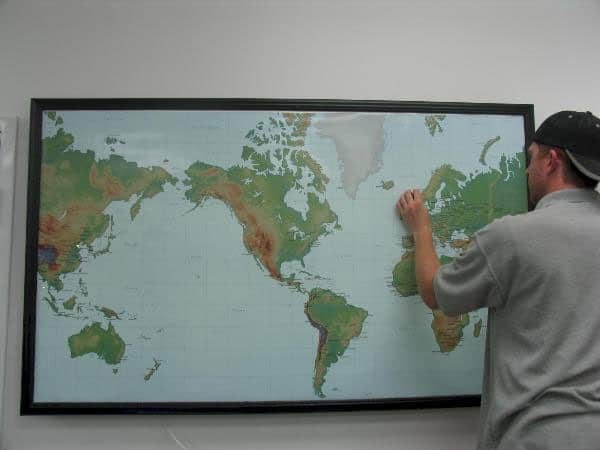 "Intelliserv supplied Lightravels® with their own map insert and uses their  custom size large wall map to locate offshore and onshore oil rigs. (Outer Frame Dimensions: 52½""w x 35""h x 3""d)"