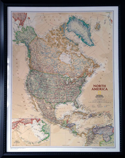 "BCPM chose the illuminated Lightravels® custom North America map to  celebrate 20 years of planting churches throughout North America (Outer Frame Dimensions: 26""w x 32""h x 3""d)"