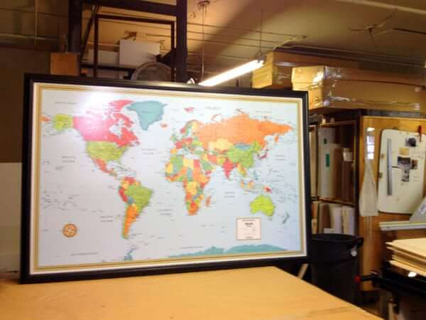 "Large custom size map (CSRMWM) being made for a customer in TX who  is going to use it to display their personal travels around the world. (Outer Frame Dimensions: 52½""w x 35""h x 3""d)"