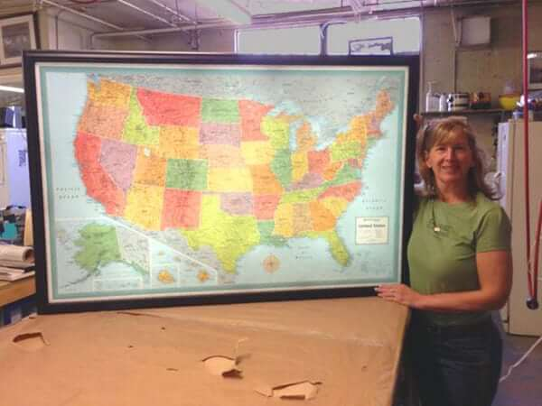 "Large custom map finished up for a business customer in FL. Our light up maps are  a great way to highlight your locations, sales territories, or customer locations.  (Outer Frame Dimensions: 52½""w x 35""h x 3""d)"