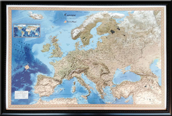 "A European customer wanted a unique satellite map of Europe to display his travels. This map is a perfect combination of satellite imagery and geographic reference information.  (Outer Frame Dimensions: 38""w x 26""h x 3""d)"