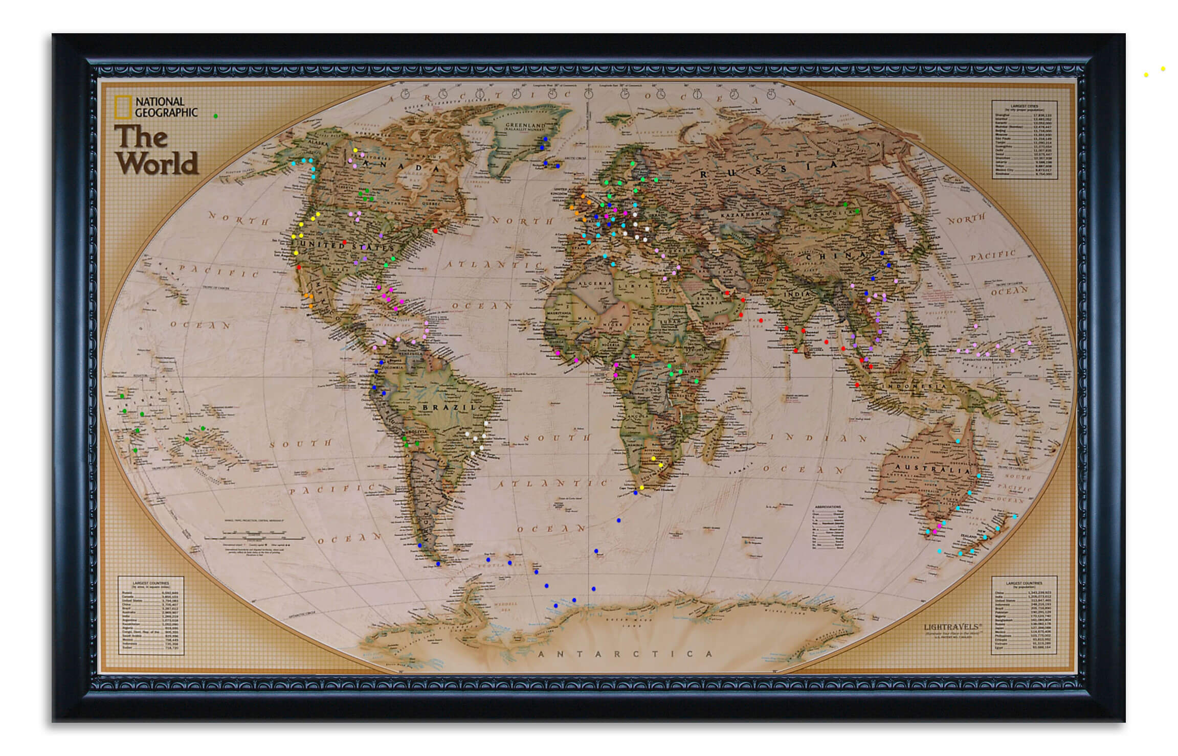 Executive World Map shown with pegs inserted.  This is an example of what your map can look like  (picture taken in daytime).