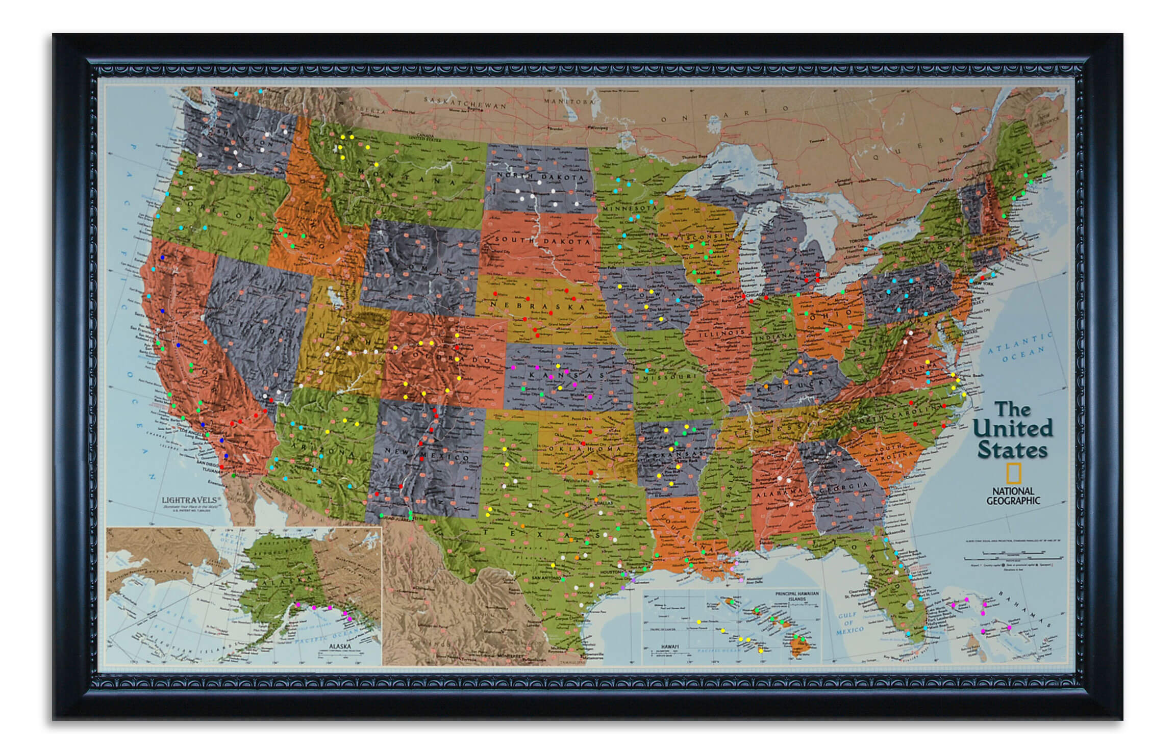 U.S. Explorer Map shown with pegs inserted.  This is an example of what your map can look like  (picture taken in daytime).