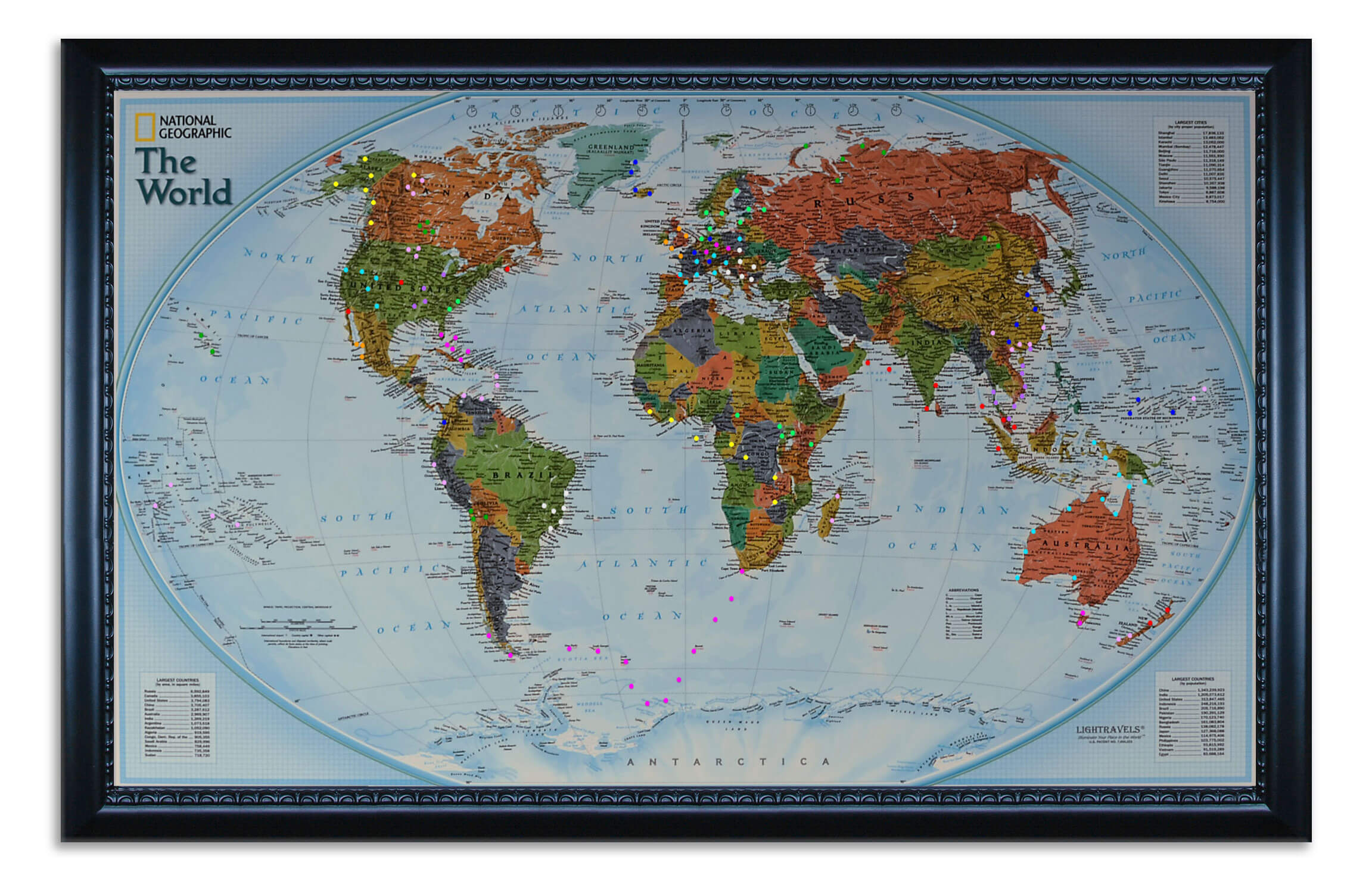 World Explorer Map shown with pegs inserted.  This is an example of what your map can look like  (picture taken in daytime).