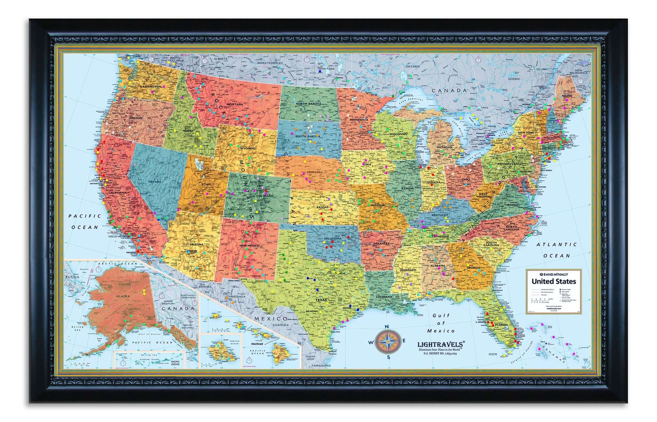 Modern Style U.S. Map shown with pegs inserted.  This is an example of what your map can look like (picture taken in evening).