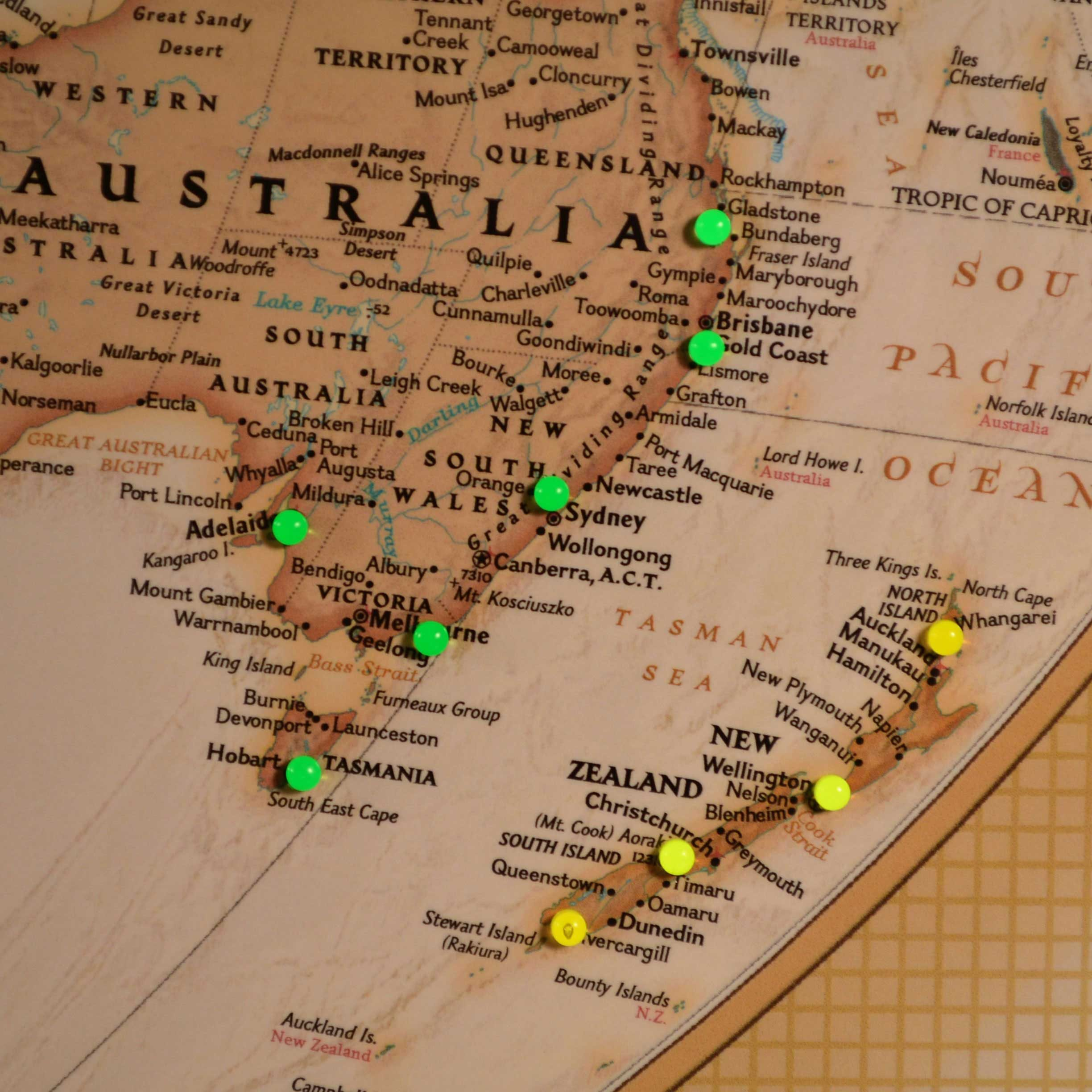 Close up picture of cruise taken to New Zealand and Australia  on the Executive World Explorer Map