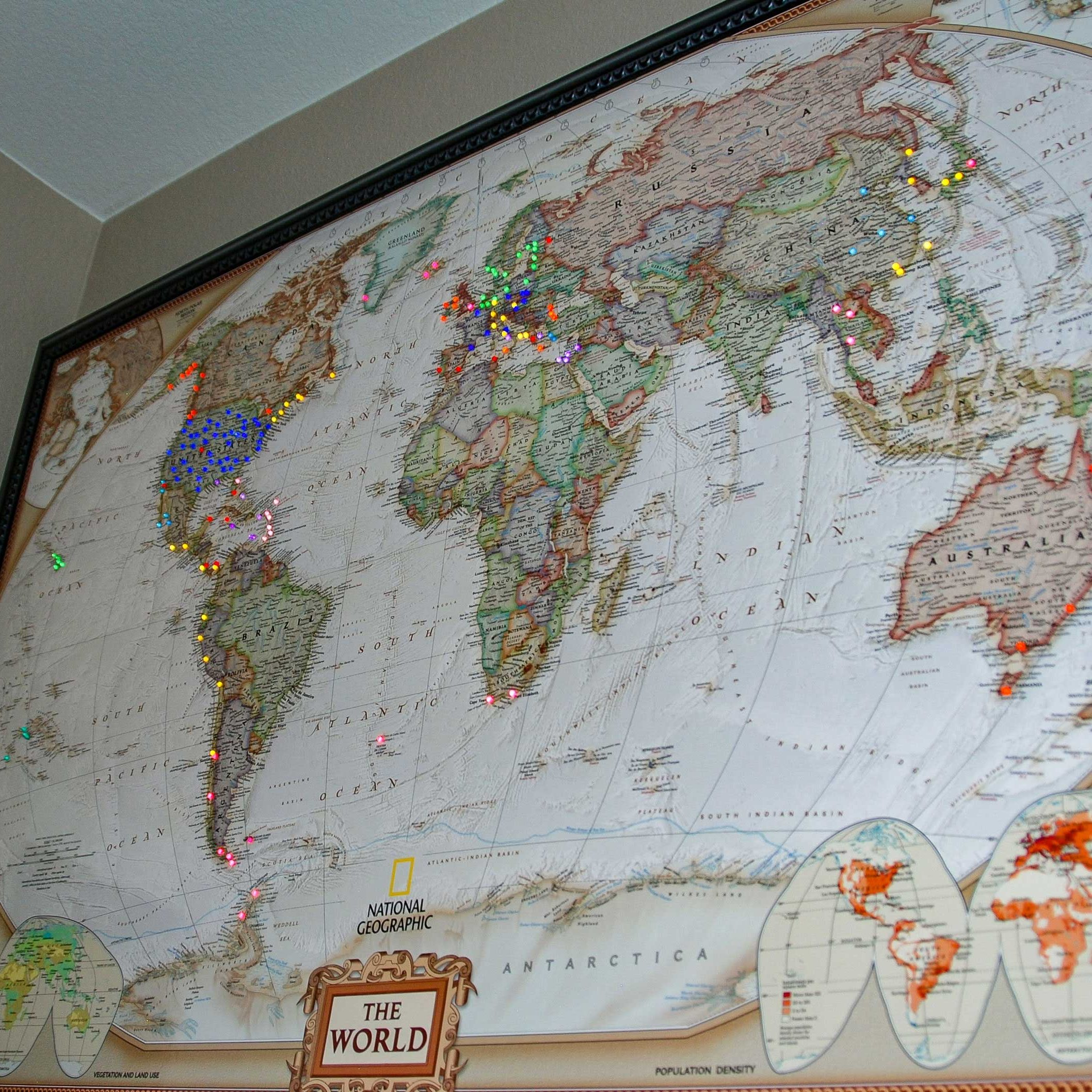 Executive World Map hanging on the wall  (picture taken in evening)