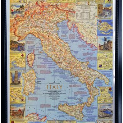 "The customer wanted to highlight all of the places she traveled in Italy,  so we built her a custom lighted unit to fit this map.  (The Travelers Map of Italy Outer Frame Dimensions: 25""w x 34½""h x 3""d)"
